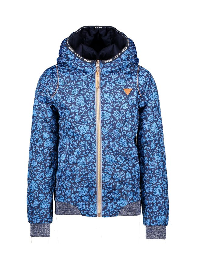 Billy hooded summer jacket in Hibiscus Flower AOP and in AOP Animal - Bright Sky