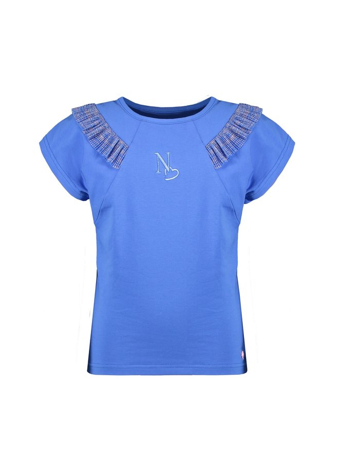 Kate ss T-shirt with fancy frill at shoulder/lightning in sequences - Light Porcelaine