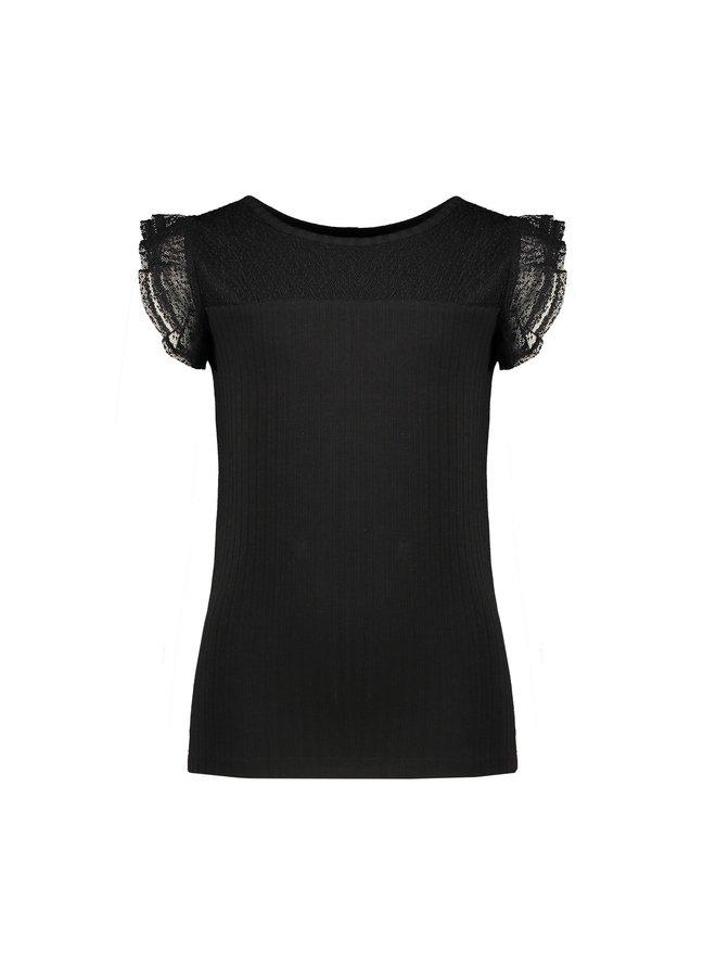 Kathy rib tshirt with ruffled mesh short sleeves - Antracite