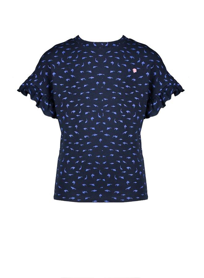Kanout ss T-shirt AOP sharks with frilled sleeve edges - Navy Blazer