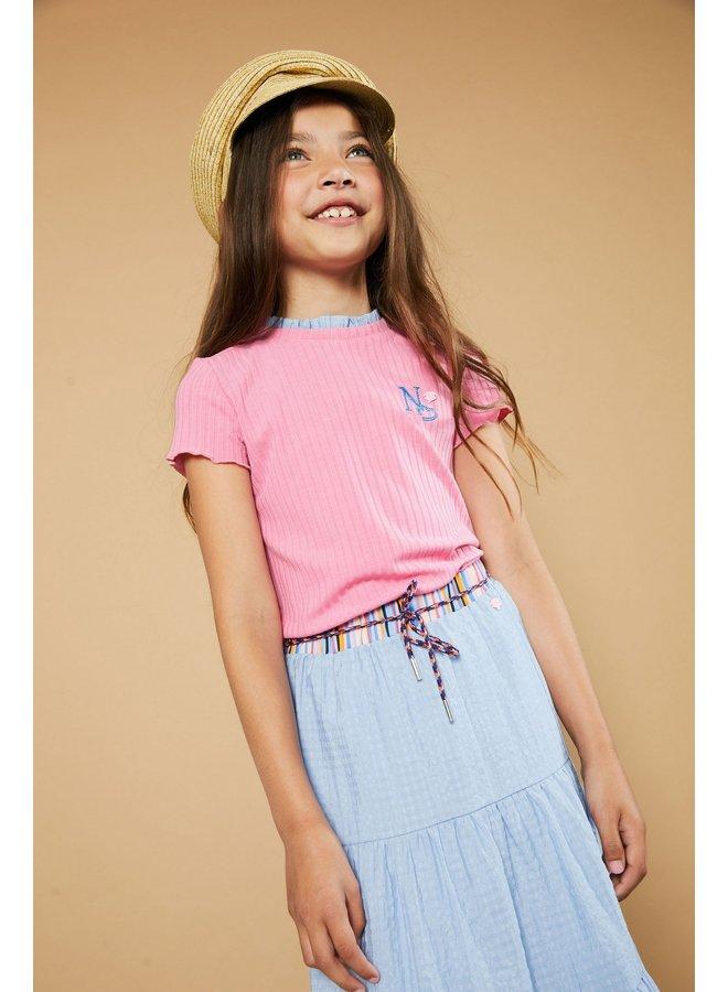 Kim ss rib jersey tshirt with woven ruffled detail at neck - Loving Pink