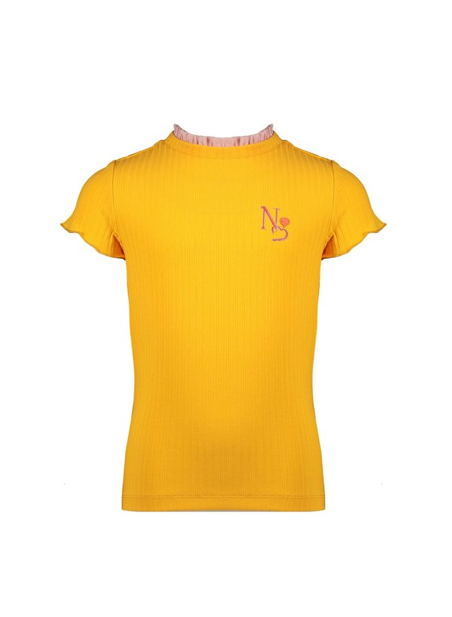 Kim ss rib jersey tshirt with woven ruffled detail at neck - Blazing Orange
