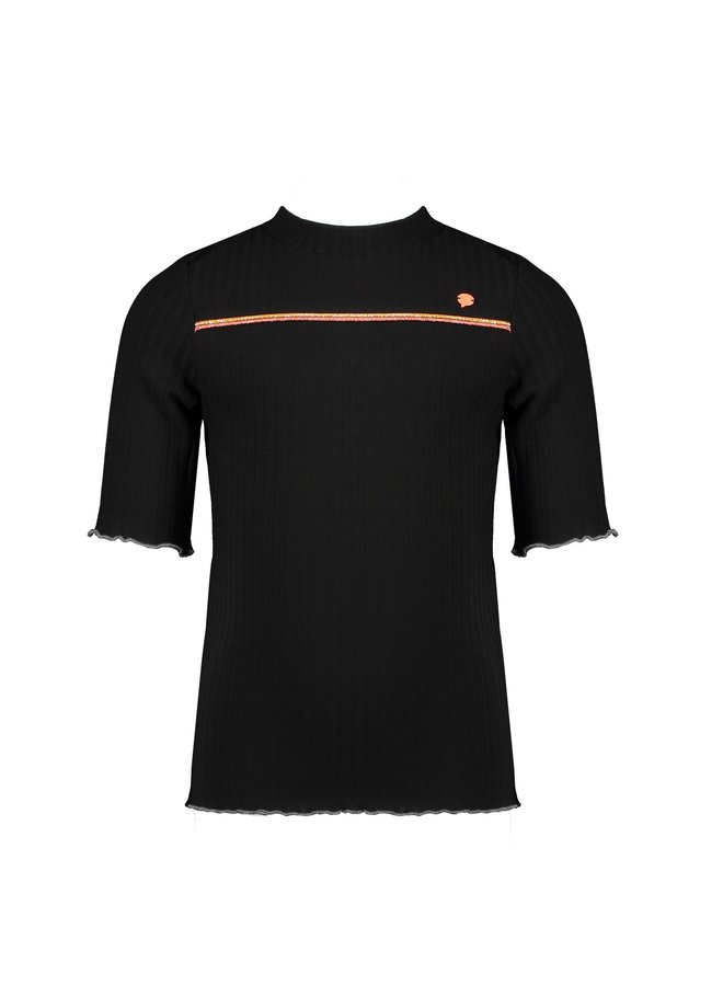 Kyra 3/4 sl T-shirt rib jersey with piping at chest and small turtle neck - Antracite