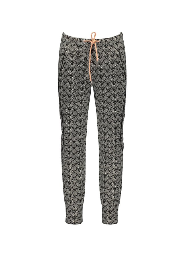 Soso fancy sweat pants in African Aop with piping detail - Antracite