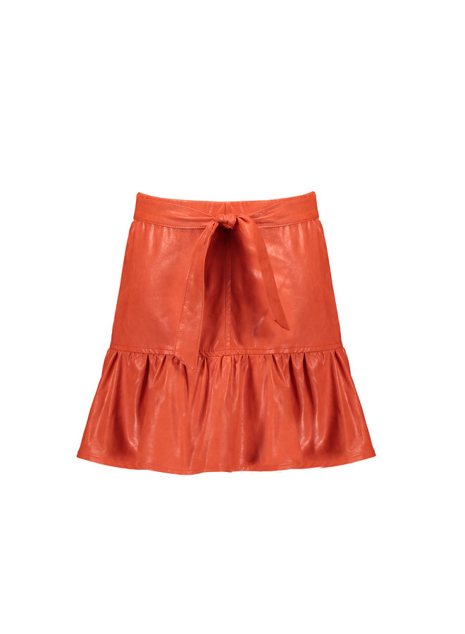 Nilia short skirt fake leather with frill at hem - Crayfish