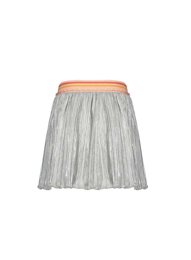 Nobby short skirt in Shiny plisse - Silver