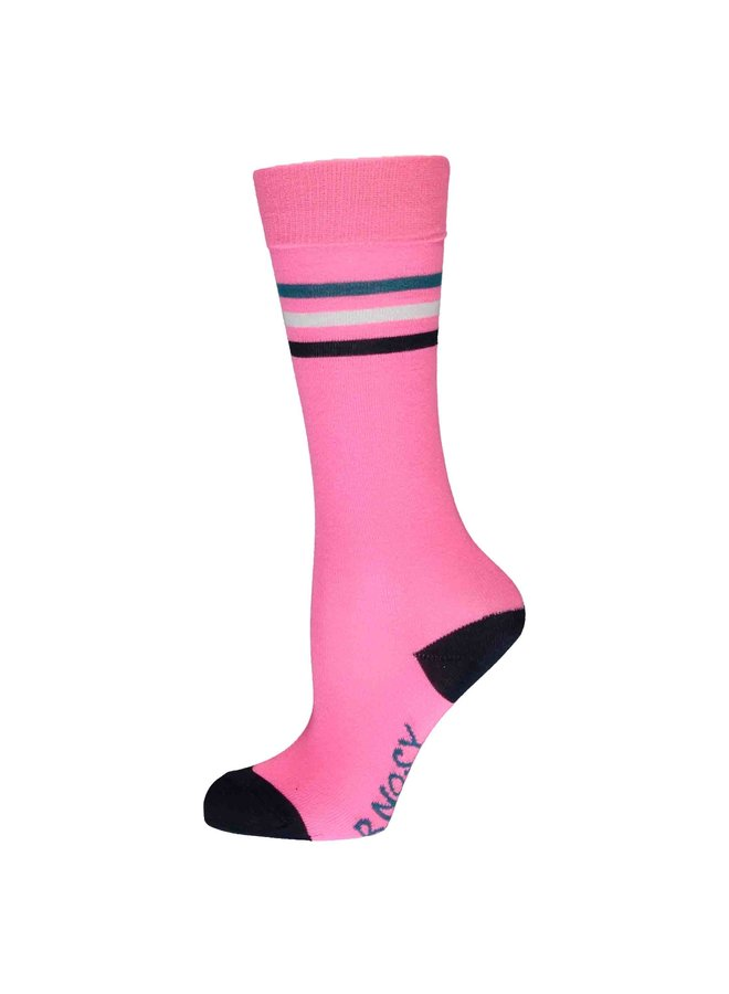 Girls basic socks with contrast stripes - Sugar plum