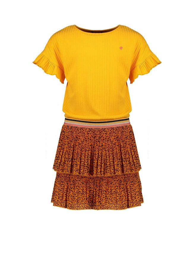 Manou ss dress with rib jersey top+woven skirt in Pebblestone AOP - Blazing Orange