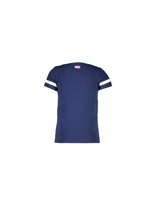 Girls ss shirt with ful embroidered front - space blue