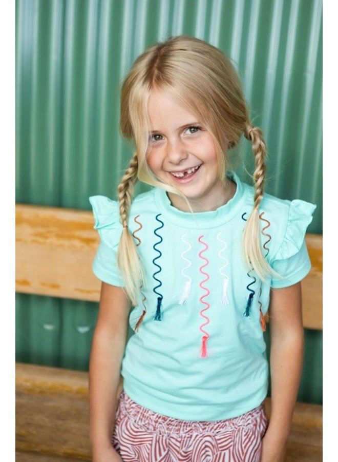 Girls t-shirt with multicolor embro and tassel artwork - Ice Green