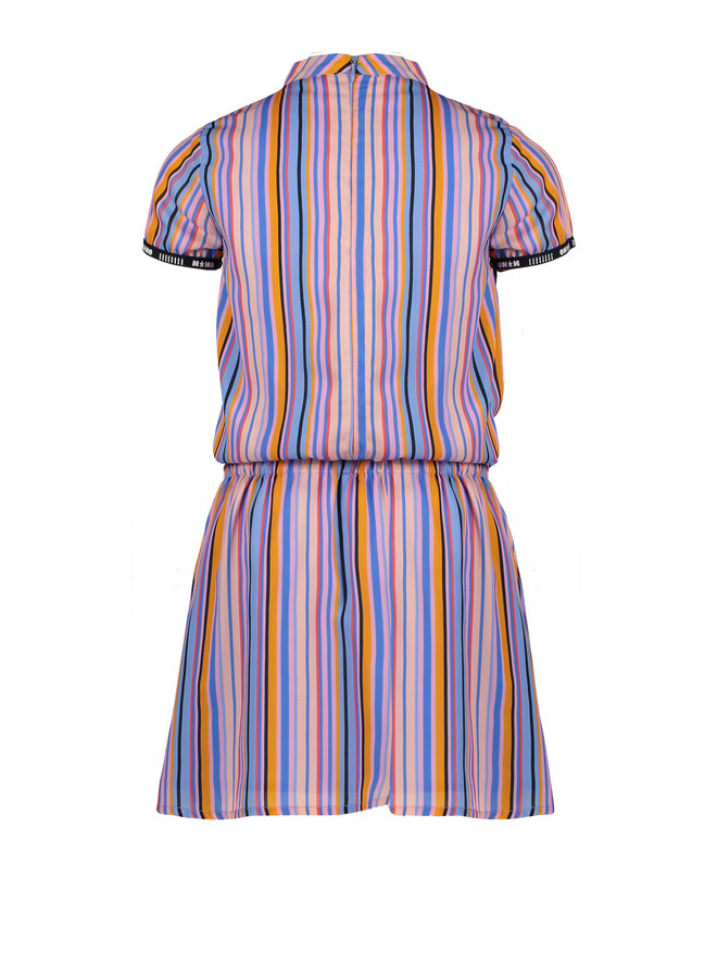 Mirthe ss woven dress in Bright stripes - Bright Sky