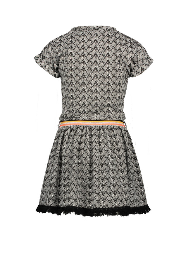 Mai ss sweat dress in African AOP with fringes at hem - Antracite