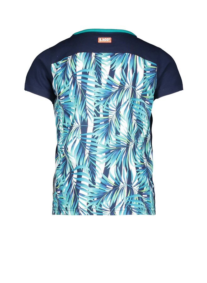 Girls t-shirt with tropical palm ao backside - space blue