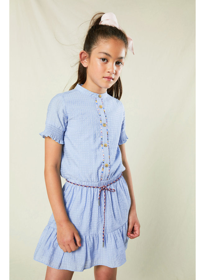 Miro half sleeve dress in shiny voile with fancy round surfers cord - Bright Sky
