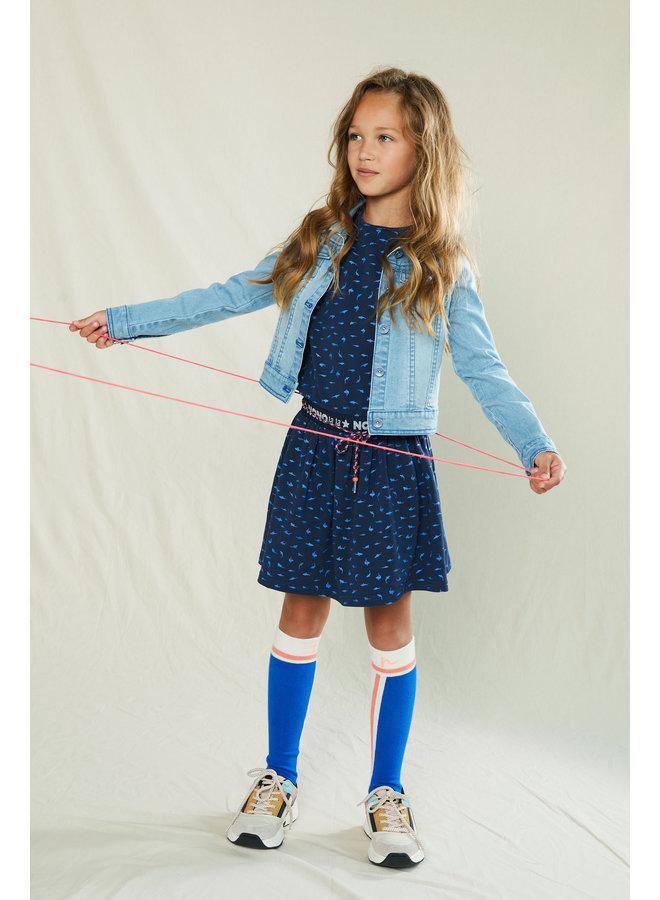 Mena ss dress in AOP Sharks - Navy Blazer