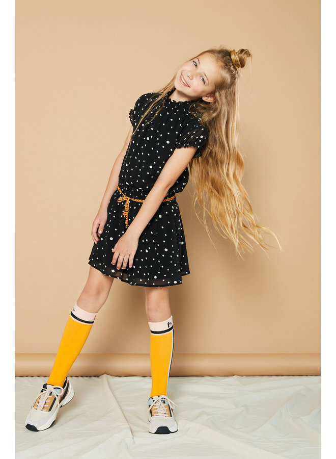 Maui capsleeved little black dress with Cheetah dots - Antracite