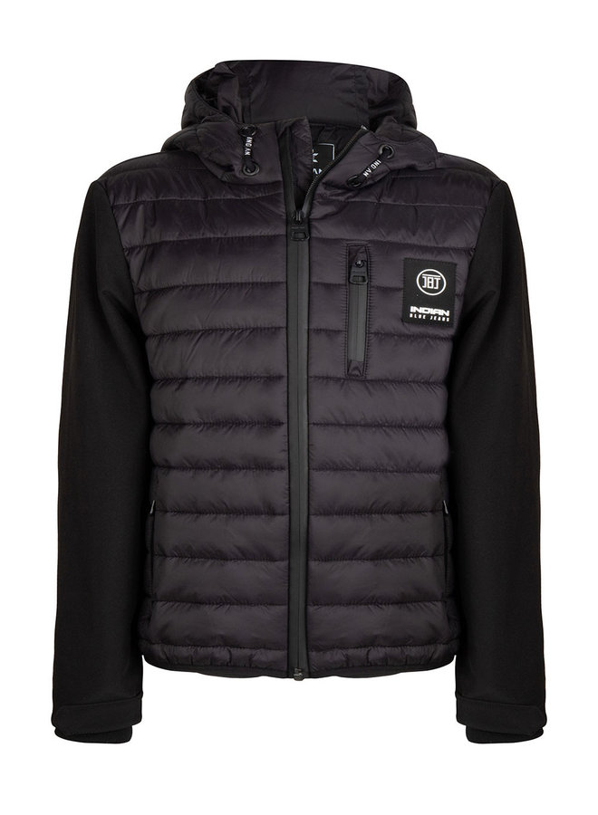 HOODED QUILTED JACKET - Black