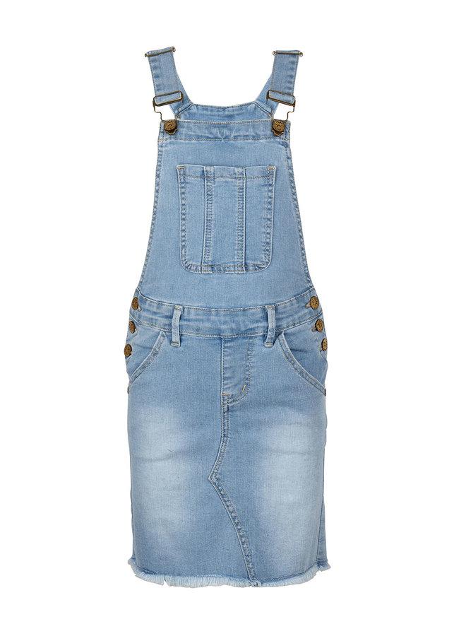DENIM DUNGAREES DRESS - Medium Denim