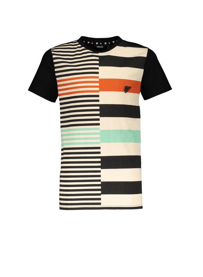 Kore short sleeves T-shirt panel print - Caviar