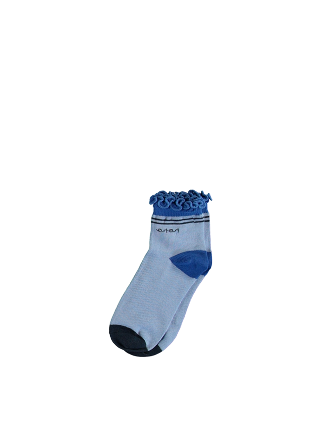 Rosie normal sock with ruffled edge - Bright Sky