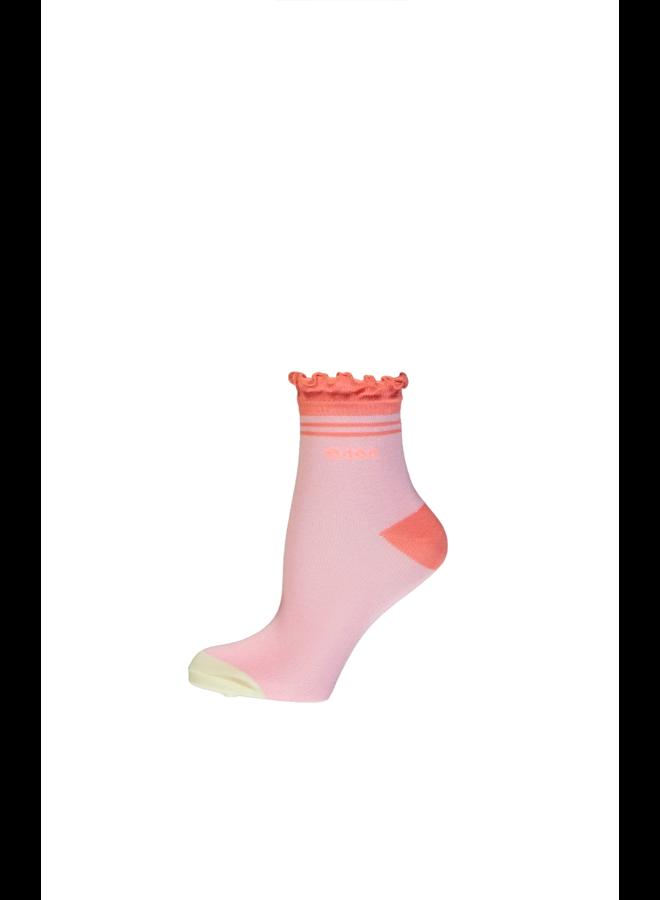 Rosie normal sock with ruffled edge - Loving Pink