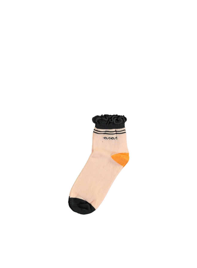 Rosie normal sock with ruffled edge - Seashell Pink
