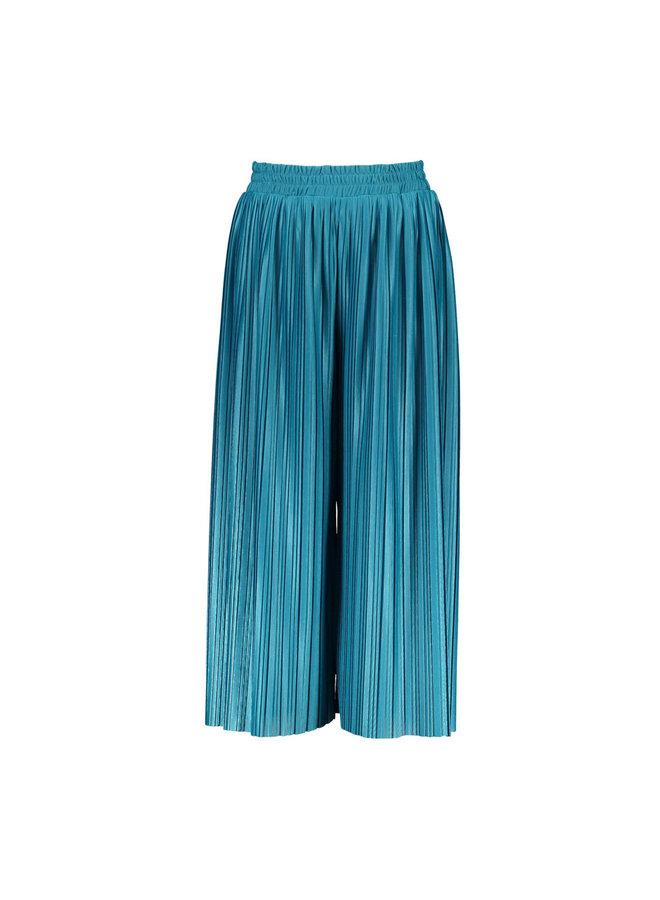 Girls pants with fancy single layer rib, plissé - Dark Ocean