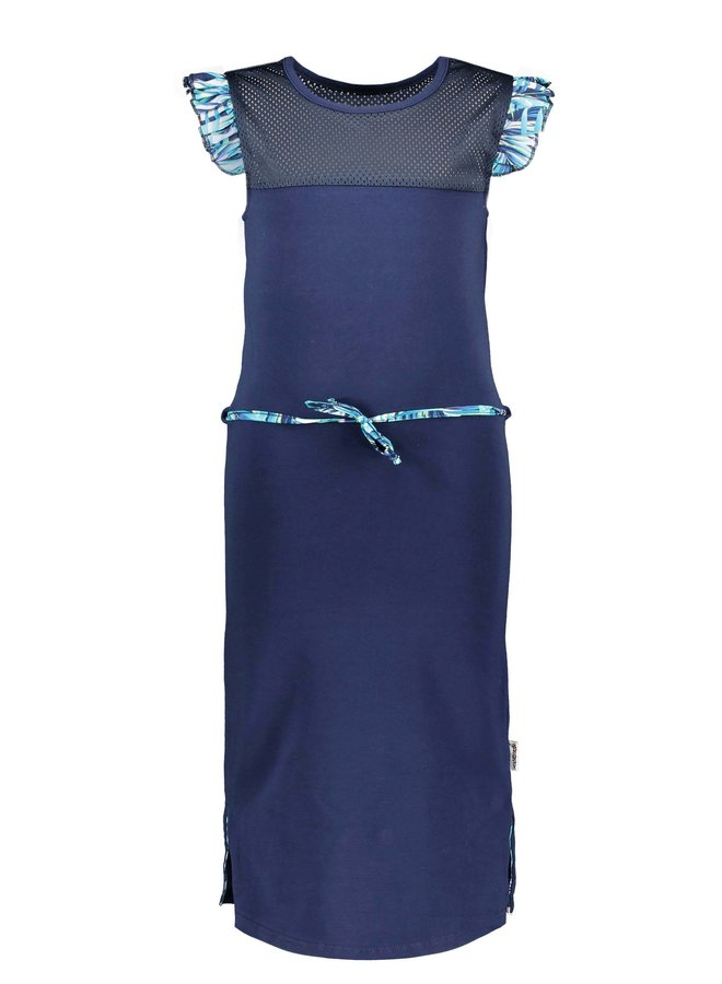 Girls sweat dress with sporty mesh c&s and belt - space blue