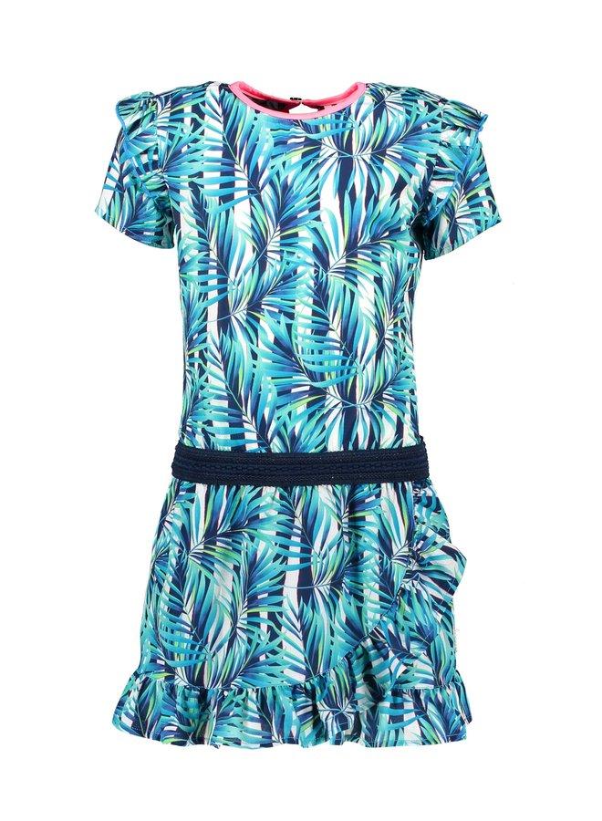 Girls tropical palm ao dress with ruffle - Tropical palm ao