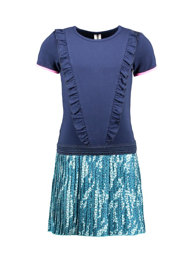 Girls ss dress with ruffle at front, plisse skirt part - space blue