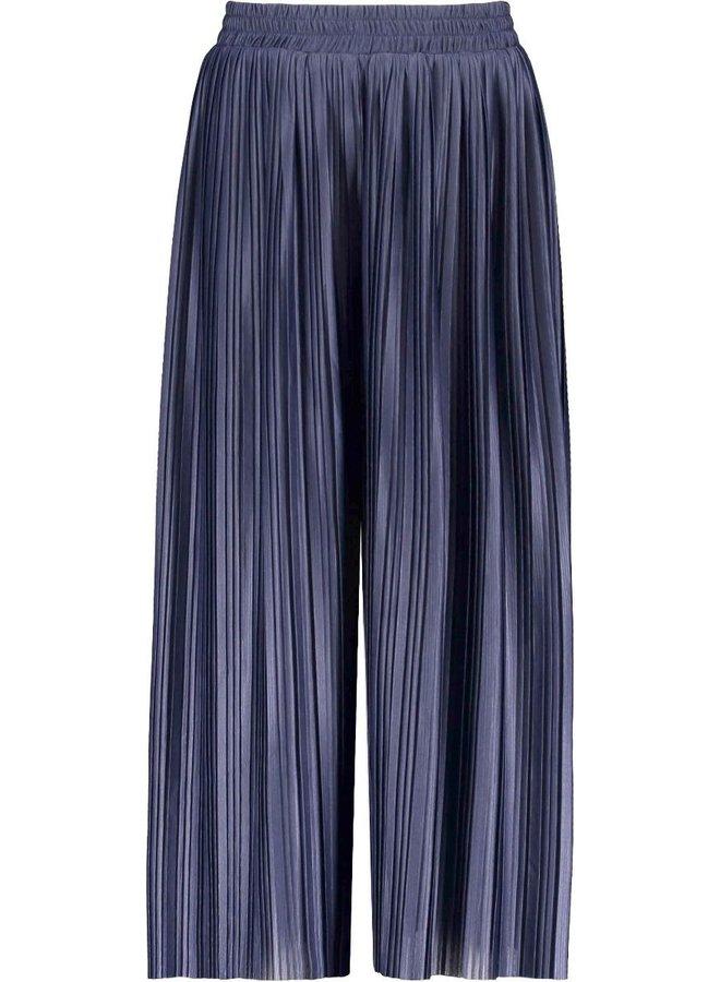 Girls pants with fancy single layer rib, plissé - space blue