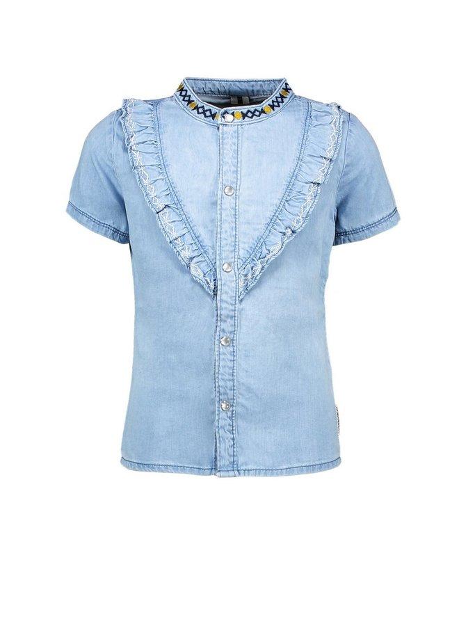 Girls denim blouse with v-shaped ruffle - Curious denim