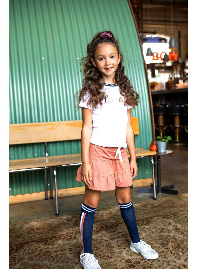 Girls  skirt with lurex and smocked wb - Pale Brown