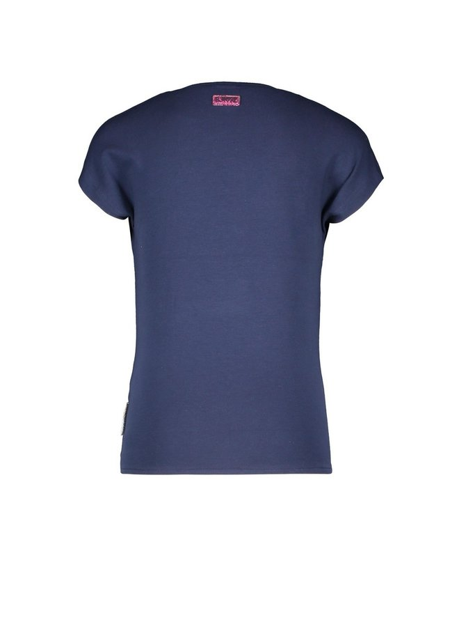 Girls t-shirt with big flower embroidery and knot - space blue