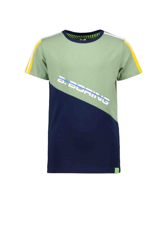 Boys short sleeve with slanted cut and sew partk - Hunter green