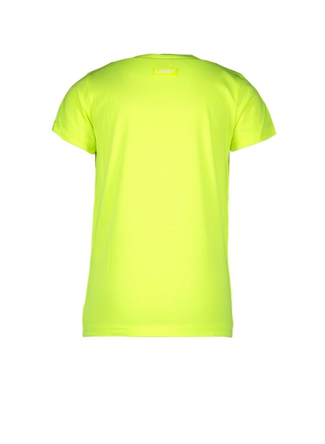 Boys short sleeve t-shirt with chest artwork - Safety yellow