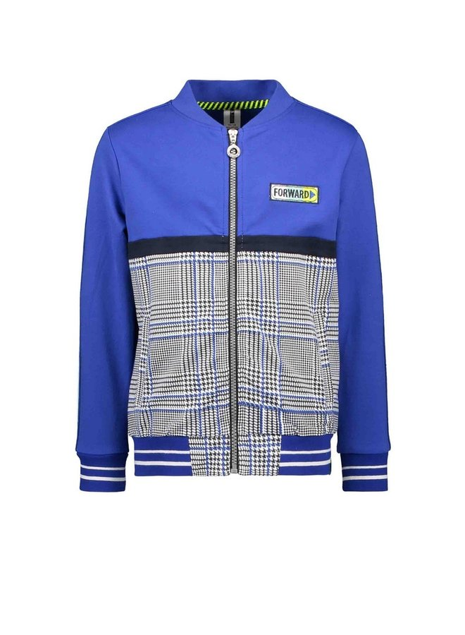 Boys cardigan with zipper and cut and sew panels - Cobalt blue