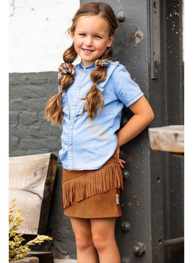 Girls fake suede skirt - Mustard