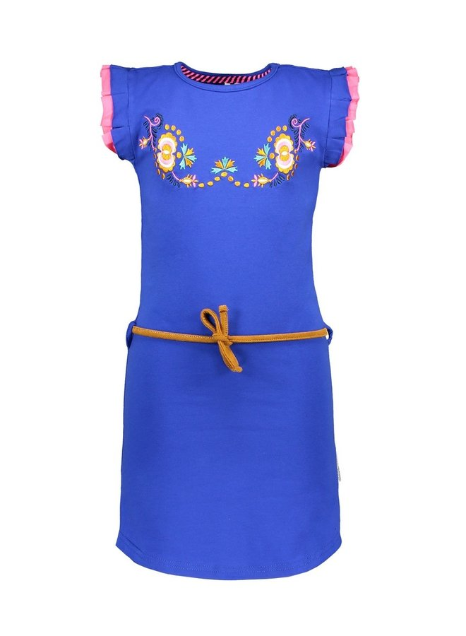 Girls dress with flower embro on chest and fancy cord - Cobalt blue