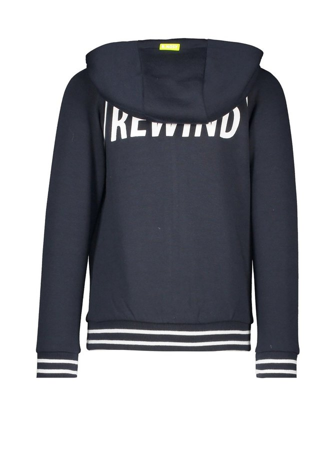 Boys hooded cardigan with zipper print on backside - Oxford blue