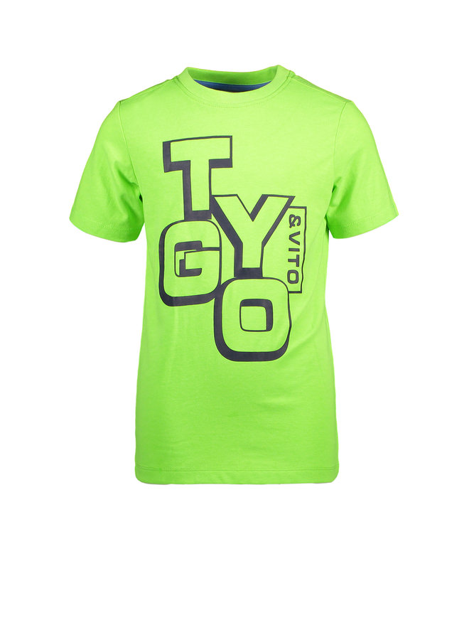 T&V neon T-shirt LOGO - green gecko