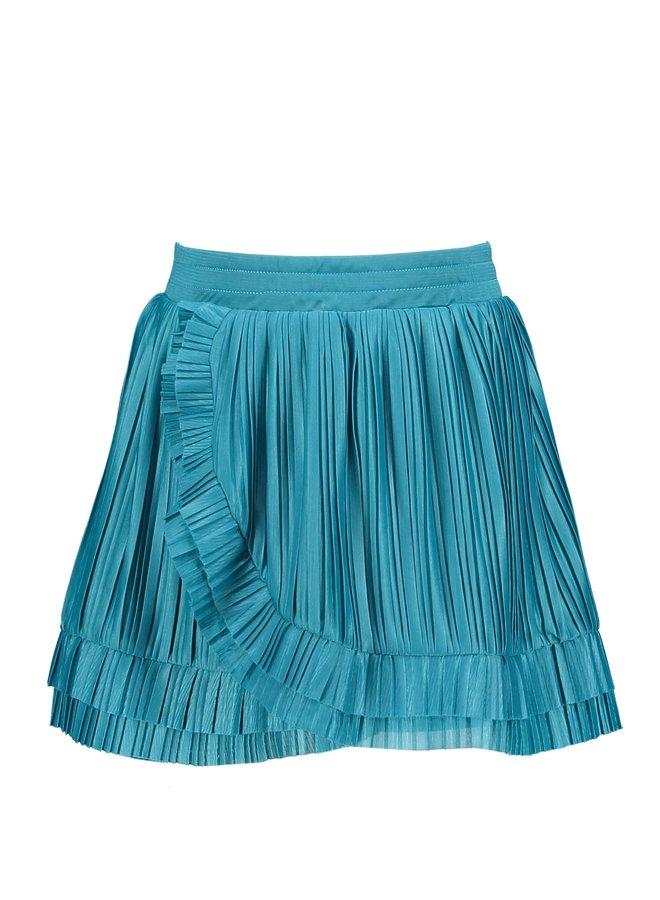 Girls skirt with overlay, small plisse ruffles - Dark Ocean
