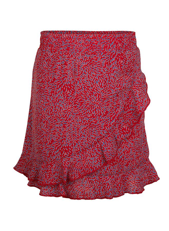 RUFFLE SKIRT - Rose Red