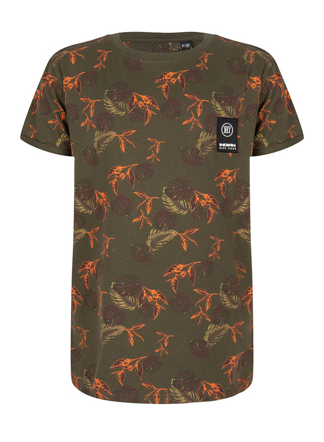 T-SHIRT SS LEAVES - Army