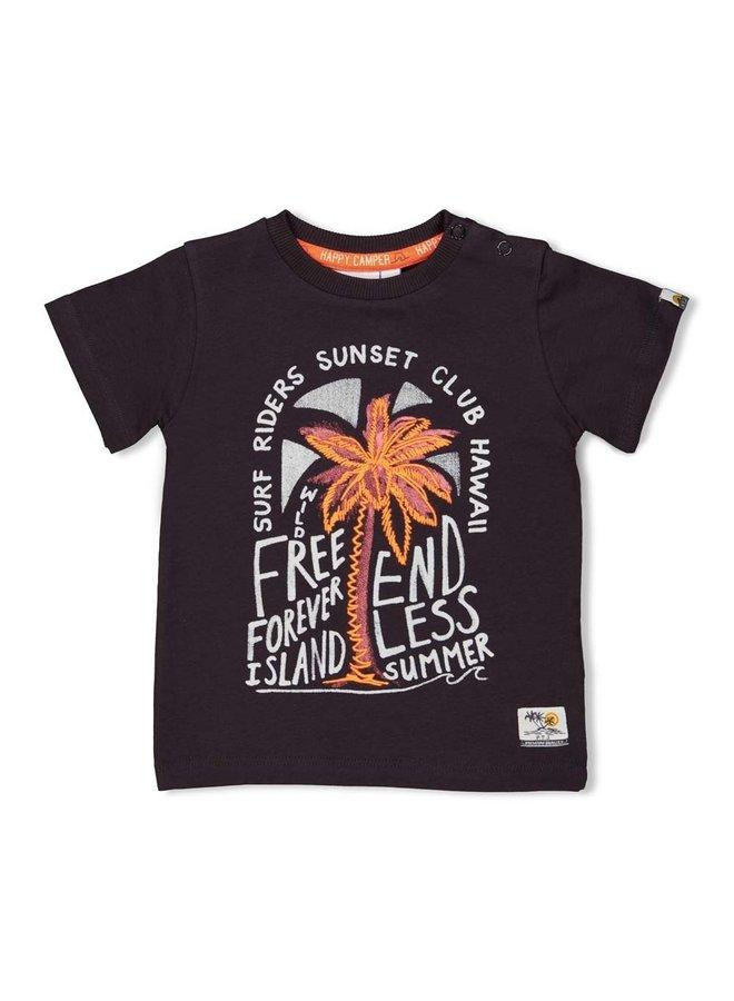 T-shirt Free - Happy Camper - Antraciet