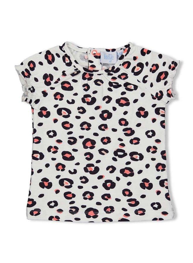 T-shirt AOP - Leopard Love - Wit
