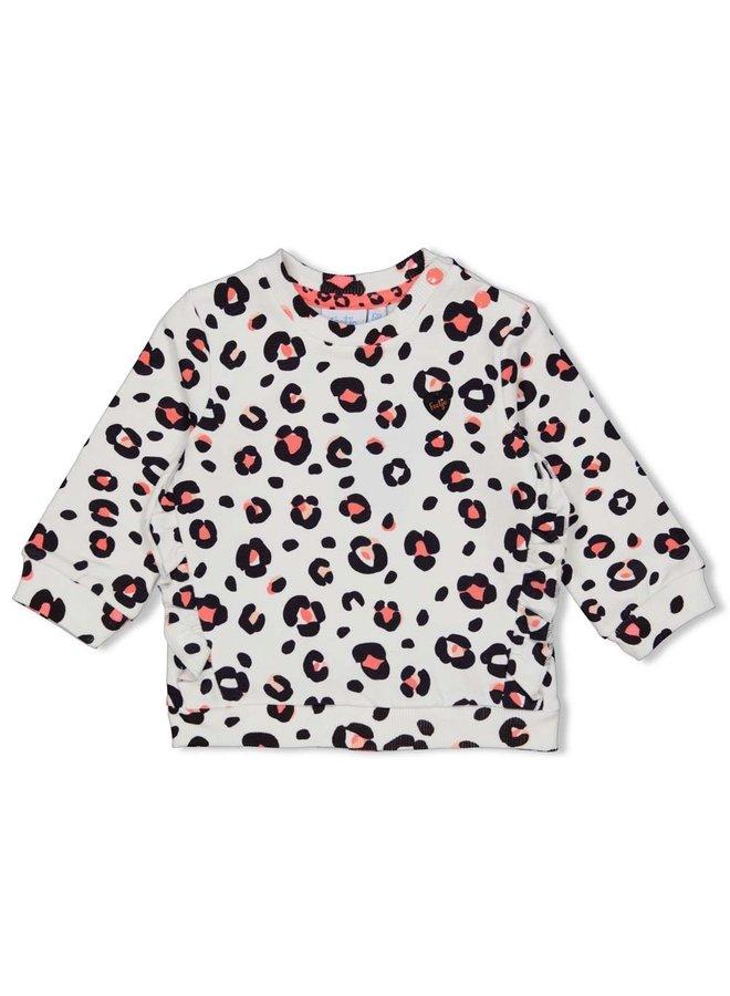 Sweater AOP - Leopard Love - Wit