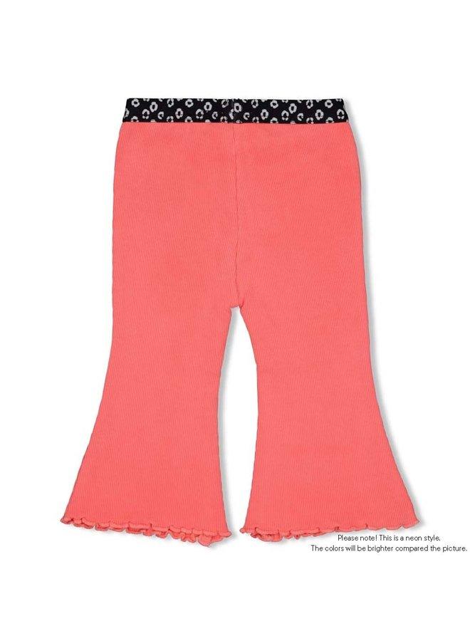 Flare pants - Leopard Love - Neon Koraal