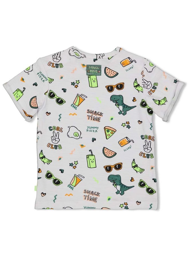 T-shirt AOP - Snacktime - Wit