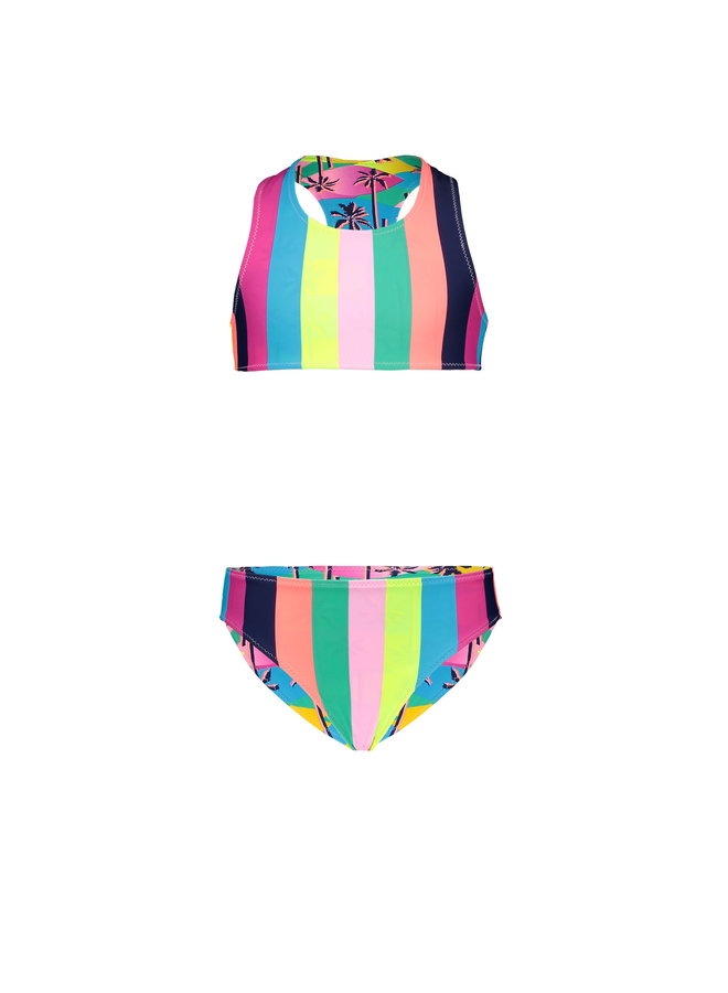 Girls tropical reversible bikini - Tropical palms